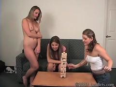 3 amateur teens playing strip games for the loss