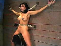 Bound spread suspended off the ground brunette impaled on Sybian
