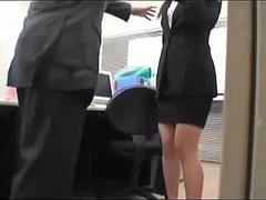 Office lady caught on masturbating on the chair in the office film