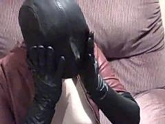 Karina in Leather Catsuit and Severe Leather Hood