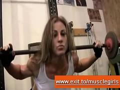 Lesbian Sex female Bodybuilder in gym