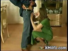 Sexy Russian milf in stockings blows the repair man