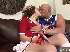 Pretty TS cheerleader Hazel Tucker anal banged by her coach