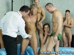 Bisexual Orgy in a wrestling ring leads anal