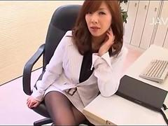 Asian office woman teases in her pantyhose