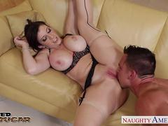 Busty cougar Sara Jay taking a large prick