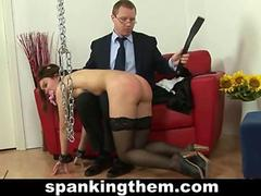 Spanking lesson for a secretary