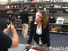 Business woman gets offered pawn shop cash for her pussy