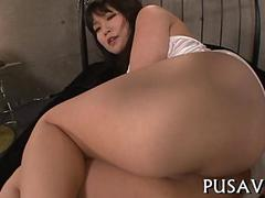 Shaved Japanese chick ass smacked and fucked by her master