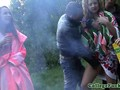 Three college chicks jizzed on tits outdoor