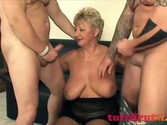 Euro mature fucked by two