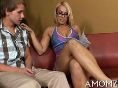 Ripe blonde with glasses climbs a young guys big cock