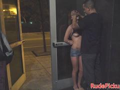 Pulled babe hardfucked while gagged