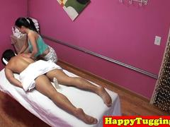 Petite asian masseuse fucked before tugging