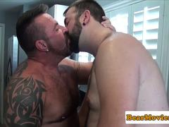 Hairy bear assfucking inked otter after bj