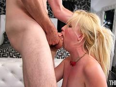 This blonde desirable babe is eager to taste that hulking cock and suck it deeply