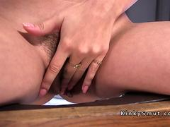 Hairy cunt babe anal machine fucked