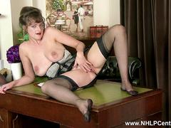 Busty natural brunette Kate Anne in genuine vintage nylon stockings helping you to a fulfilling wank