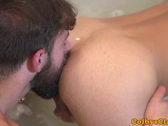 Asslicked inked twink cums while assfucked