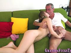 Sensational slut is tempted to swallow that huge cock and then get nailed hard by this handsome fellow