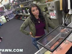 Latina getting fucked at a pawn shop