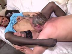 German granny is happy to give a head to that big cock and get scored in numerous poses by this handsome super stud