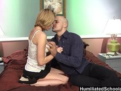 HumiliatedSchoolGirls - Teen swallows a load to pay for the ride