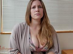 Busty mom likes to roleplay while sucking a dick POV