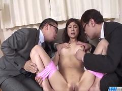 Nasty office threesome for insolent Mafuyu Hanasaki