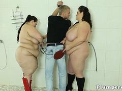 BBW plumpers queening and tugging guy in trio