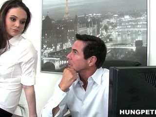 secretary sagging tits gets her pretty face cummed
