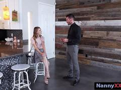 Adorable teen babysitter Jillian Janson nailed by horny man
