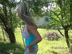 Married blonde bangs public agent outdoor