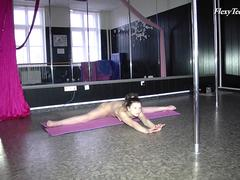 Russian blackhaired gymnast being amatuer in her moves