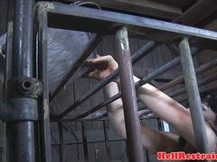 Bonded caged sub throated in gagged mouth