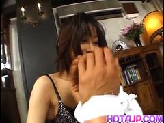 Yuka Takahashi arouses man and sucks cock