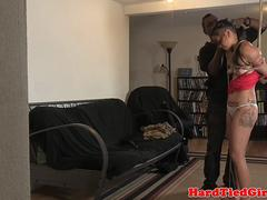 Inked bdsm sub tied up and toyed by maledom
