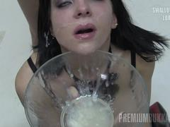Premium Bukkake - Elya swallows 38 huge mouthful cumshots