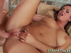 Babe anally rides big rod