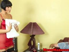 Dominant milf masseuse jerking and slapping