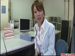 Sexy and long legged secretary teased, fondled and fucked in the office - More at Pissjp.com