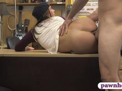 Pretty woman pawns her pussy and fucked by pawn keeper