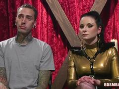 Cruel Mistress Pegging Her Inked Slave