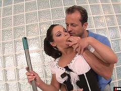 3 dick blowbang for brunette maid