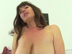 British hairy housewife Janey playing with her toy