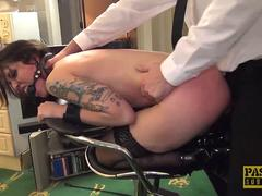 Handsome British skank gagged and dommed by big cock