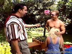 Blonde Wife Screwed By 2 Outdoors
