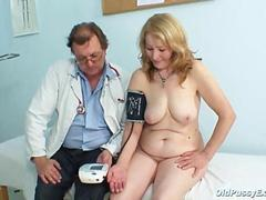 Granny Sofie goes through a speculum examination