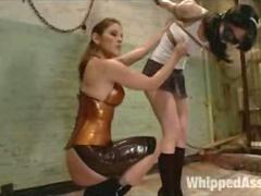 Lesbian BDSM Bondage Anal Strap-on Spanking Tortured Slave and Latex Mistress