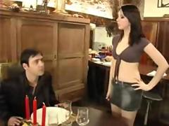 Brunette Emo Babe waitress upskirt riding and anal ass pounding sex